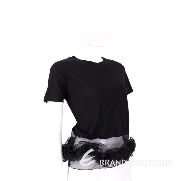 EDWARD ACHOUR PARIS 黑色拼接紗質下襬短袖T恤 1620354-01