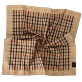 DAKS  格紋LOGO 刺繡領巾手帕帕巾駝邊989108 21