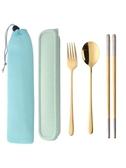 304不銹鋼餐具三件套勺子筷子套裝學生防黴收納盒便攜式環保餐具筷子勺 潮流衣舍