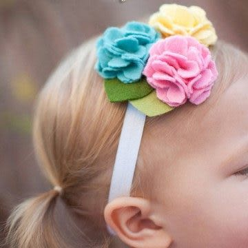UNICO 歐美 兒童髮帶 手工布花朵造型(活潑款)