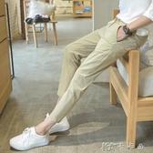 夏季褲子男士韓版流寬鬆工裝褲牌束腳運動休閒窄管修身九分褲 卡卡西