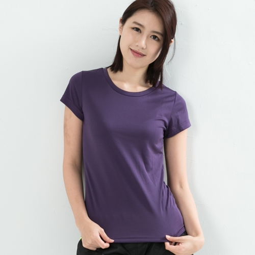 女款排汗T  CoolMax 吸濕快乾 機能涼感 舒適運動 紫色