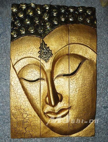 東南亞風格壁飾  進口柚木傢俱 佛臉掛板(金)