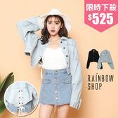 個性後蝴蝶結牛仔外套-NN-Rainbow【A403372】
