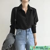 雪紡上衣 黑色襯衫女長袖職業2020秋裝新款設計感小眾雪紡上衣內搭打底襯衣 麗人印象 免運