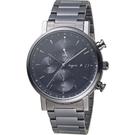 agnes b. give Love簡約墨黑太陽能計時腕錶 VR43-KSG0SD
