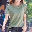 夏季新品短袖純棉純色竹節棉半袖T恤女裝寬松上衣