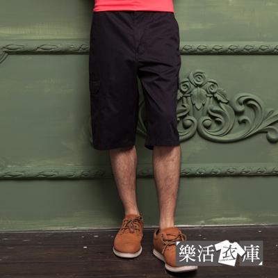 【P1123】原宿輕薄透氣多口袋休閒七分短褲(黑色)● 樂活衣庫