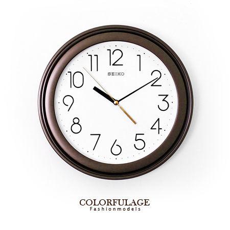 SEIKO精工時鐘 極簡數字雙圈可可配色圓形掛鐘 簡約素雅【NE1186】原廠公司貨