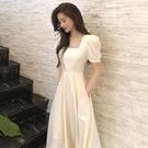 方領洋裝 溫柔風法式復古赫本風長裙顯瘦顯高氣質收腰方領泡泡袖連身裙女夏 晶彩 99免運