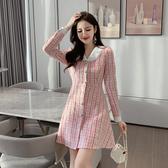 超殺29折 韓國風修身麻花呢子顯瘦御寒時尚長袖洋裝