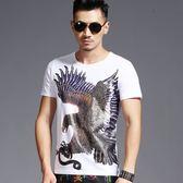 男短T恤 休閒 韓版短袖上衣 中國風T恤3D印花鷹圖案純棉圓領短袖體恤wx3460