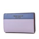 美國正品 KATE SPADE 銀字防刮皮革拚色對開釦式中夾-藍/紫【現貨】