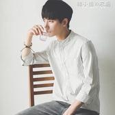 夏季學生韓版修身豎條紋7七分袖白襯衫潮流短袖襯衣服男帥氣百搭 韓小姐的衣櫥