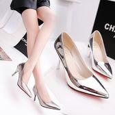 新款高跟鞋細跟淺口銀色尖頭鞋單鞋氣質女鞋性感時裝鞋子 享購