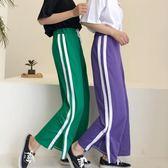 運動闊腿褲子女開叉學生松緊腰繫帶九分寬鬆垂感夏季薄款休閒褲子禮物限時八九折
