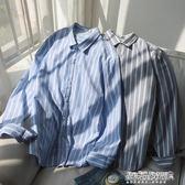 襯衫長袖男 淺藍色條紋長袖襯衫薄款潮流原宿風襯衣學生外套  傑克型男館