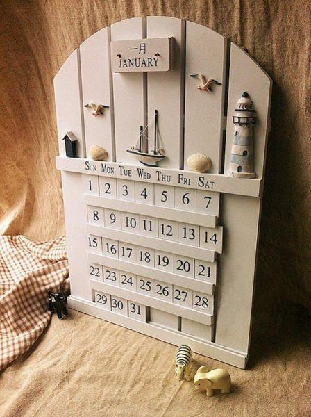 【發現。好貨】韓版zakka雜貨 實木地中海白色萬年曆 掛曆 DIY日曆 可移動月曆 壁掛月曆 居家裝飾