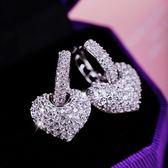 耳環 925純銀鑲鑽-奢華愛心生日聖誕節禮物女耳飾73du14[時尚巴黎]