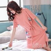 夏季睡裙女純棉薄款短袖韓版寬鬆大碼睡衣女學生可愛連身裙子夏天 小時光生活館