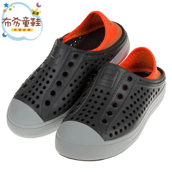 《布布童鞋》SKECHERS淺灰橘色兒童洞洞休閒鞋(17~23.5公分) [ N9B95LJ ]