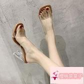 外穿水晶透明高跟鞋一字帶粗跟涼拖鞋女【櫻桃菜菜子】