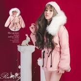 外套 可拆毛領內鋪棉縮腰防風保暖大衣外套-Ruby s 露比午茶