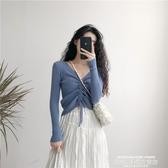 秒殺針織衫秋裝韓版chic修身顯瘦V領抽繩上衣外穿復古套頭短款長袖針織衫女
