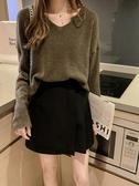 套頭針織衫女秋季新款韓版寬鬆慵懶薄款v領毛衣長袖打底上衣 阿卡娜