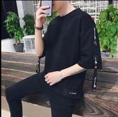 (快出)七分袖T恤新款夏季短袖t恤男士7七分袖衣服韓版潮流寬鬆半袖體恤五分袖
