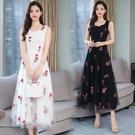 大碼吊帶裙 夏天顯瘦長裙連身裙2021新款夏季女裝流行刺繡網紗仙女 快速出貨