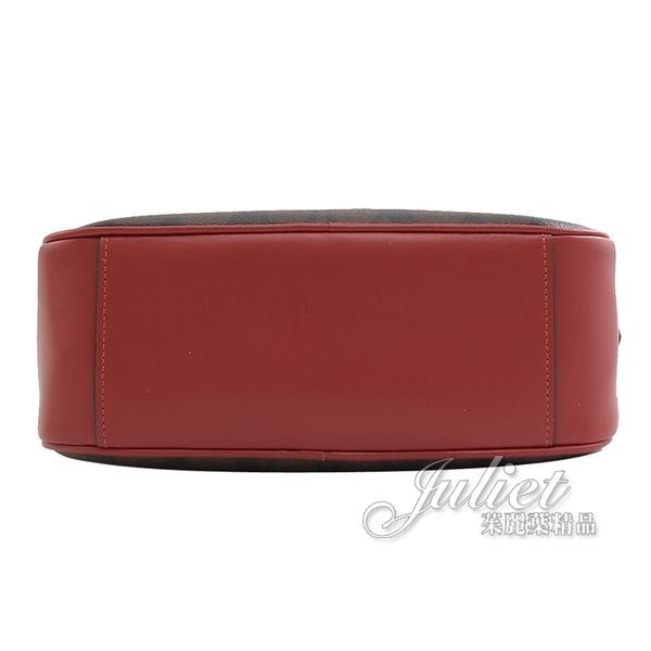 茱麗葉精品【全新現貨】COACH 68168 滿版LOGO印花雙層斜背相機包.深咖/紅