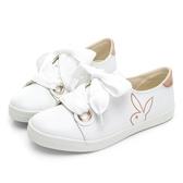 PLAYBOY 軟皮革寬版帶休閒鞋-白-Y5702