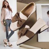 兩穿小皮鞋女低跟方頭粗跟豆豆鞋百搭樂福鞋女 巴黎時尚