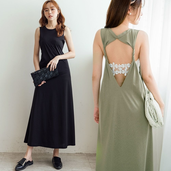 MIUSTAR 扭結大露背棉質長洋裝(共2色)【NJ1896】預購