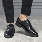 男皮鞋 正裝皮鞋 夏季新款休閒男鞋韓版英倫布洛克雕花皮鞋黑色真皮商務男鞋子《印象精品》q1450