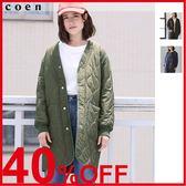 出清 長版 大衣 軍裝外套 女 鋪棉 V領絎縫外套 現貨 免運費 日本品牌【coen】