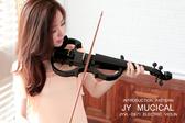 小叮噹的店- 電子小提琴 JYVL-D871BK 黑色 雲杉 靜音小提琴