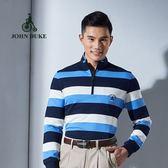 JOHN DUKE約翰公爵 經典美式條紋純棉POLO衫 (藍/白)