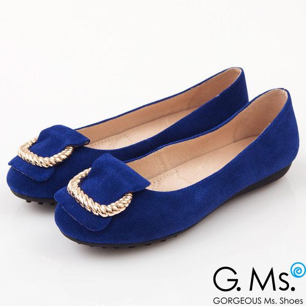G.Ms. 羊麂皮金屬繩紋皮帶釦環娃娃鞋*知性藍
