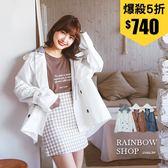 韓版可拆式連帽短版風衣外套-N-Rainbow【A36830】