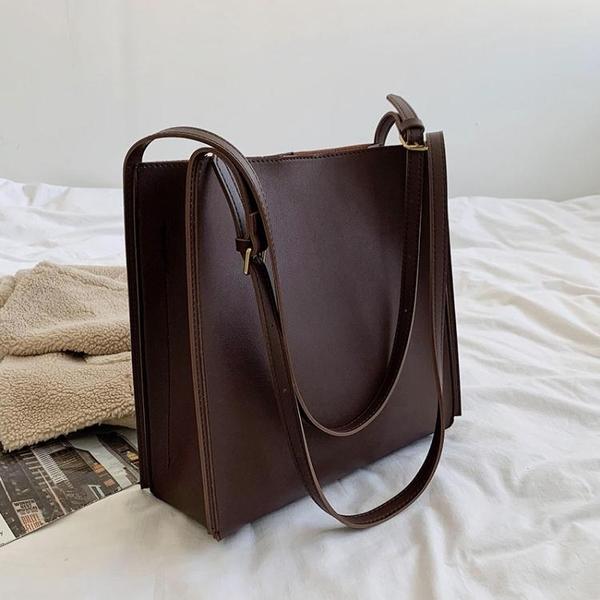 秋冬大容量女士包包新款潮時尚百搭側背大學生上課通勤托特包