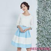 Red House 蕾赫斯-愛心領蕾絲剪接洋裝(藍色)