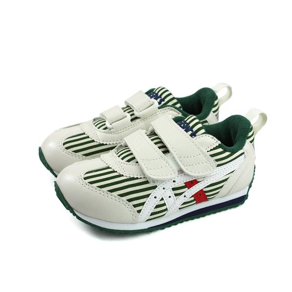 亞瑟士 ASICS IDAHO MINI CT 3 運動鞋 魔鬼氈 白色 綠條紋 中童 TUM187-300 no391