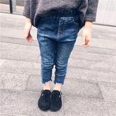 旦女童時尚破洞鉛筆褲正韓七分牛仔褲寶寶全棉彈力修身小腳褲禮物限時八九折