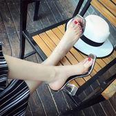 透明高跟魚嘴涼鞋性感一字帶露趾粗跟水晶高跟鞋女鞋  薔薇時尚