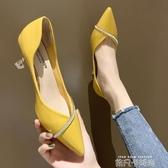 女鞋2020新款春季時尚水鉆百搭尖頭網紅單鞋少女高跟鞋女細跟皮鞋 依凡卡時尚