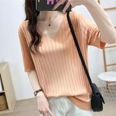 短袖T恤女超火cec夏季韓版半袖寬鬆V領慵懶風垂感冰絲針織衫上衣