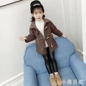 大碼毛呢外套 女童毛呢外套新款韓版兒童中大童中長呢子羊羔絨洋氣大衣 qf16079【小美日記】