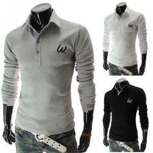 衫 2014秋裝새로운 男士韓味個性時尚韓味字母繡花設計長袖POLO衫